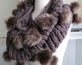 Faux Fur Pompom Cowl--Finch