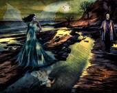 Print Edgar Allan Poe art Birthday Gift poster Vintage  artwork   Annabel Lee poem  on canvas  giclee