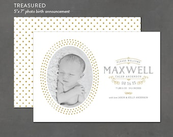 New Baby Birth Announcement, Custom Printables, Digital File, Gender Neutral Birth Announcement, Photo Card
