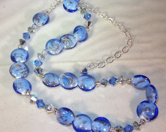 Lampwork Glass Jewelry - Necklace and Earrings Set