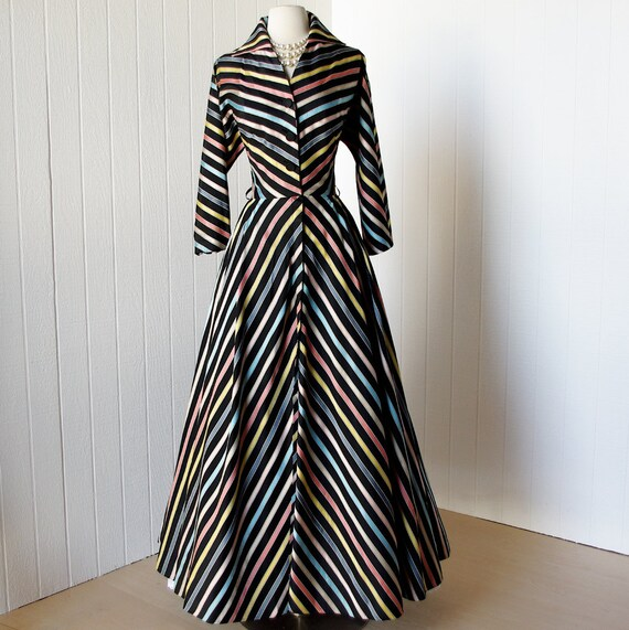 vintage 1940's dress ...fabulous MAXAN chevron rich woven ribbon striped full maxi skirt cocktail party dress