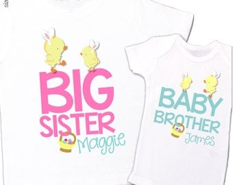 Easter chicks sibling set - brother or sister Easter chicks with bunny ears matching sibling Tshirt and bodysuit set