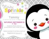 Penguin Custom Baby Sprinkle Invitation **PRINTABLE PDF**