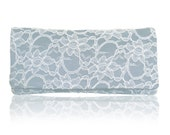 Light blue and ivory lace Astrid clutch purse