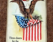 Patriotic American Flag Eagle Gift or Scrapbook Tags or Magnet #432