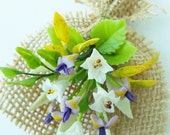 Miniature Polymer Clay Flowers Supplies Day Lilies and Iris Bouquet for Dollhouse 1 piece