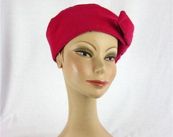Vintage 60s Pink Velvet Hat
