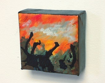 Over The Ridge, Small Abstract Painting, Original, 4x4 inches on gallery wrapped canvas by Artist Karen Koch. Small format art.
