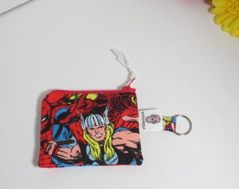 Super Hero - Super Hero Key chain change Purse - Thor Zip pouch - Super hero Keychain coin purse