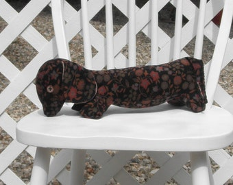 Dachshund Black Corduroy Floral Pillow Adult Toy Stuffed Dog