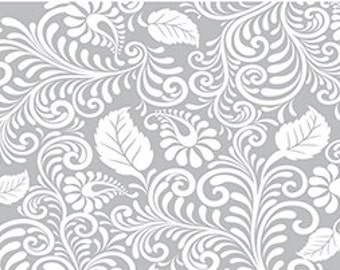 Moonflower Leafy Swirl in Gray by Denise Urban for Quilting Treasures 1/2 yard