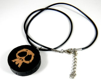 Recycled Cork, Skull Pendant, Necklace SALE