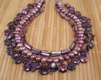 Pomegranate Pearl Necklace Tiered Purple Pearl Necklace Pink Pearl Multistrand Statement Garnet Freshwater Pearl Hot Pink Shell MultiLength
