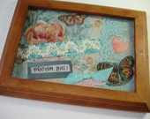 DREAM BIG - Art Collage -Paper Ribbon and Lace Collage - Inspirational Quote - 8x6 framed with glass