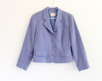 80s Light Blue Pendleton Virgin Wool Prep Jacket Coat Blazer . 10 . M . No.636.11.17.13