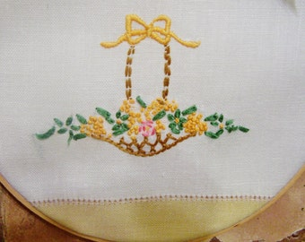 Vintage Embroidery Framed in Wooden Hoop, Yellow, Green, 1940's Linen Fabric. Handmade
