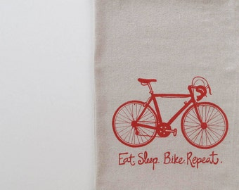 Cotton Kitchen Towel  - Road Bike - Eat Sleep Bike Repeat - Choose your ink color