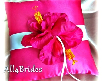 Hot pink hibiscus flower ring bearer pillow. weddings ring bearer cushion.