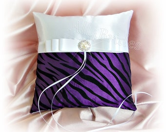 Zebra wedding ring pillow, purple and black zebra print ring bearer cushion