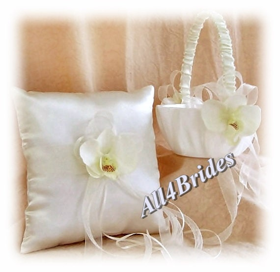 Wedding Ring Pillow and Flower Girl Basket, silk orchids and sheer ribbons | wedding ring cushion and basket set