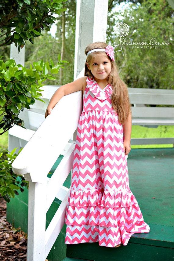 Items similar to Girl Chevron Maxi Dress Emmaline Halter Dress ...