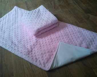 Large Waterproof Changing Pad - Baby Pink Minky - 16 x 30 Baby Mat - Easy Care Wash/Dry