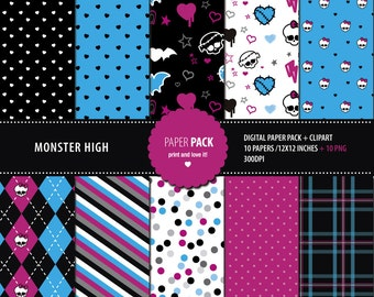 Digital Paper Pack and Clip Art Monster High Printable. 12x12 sheets 300 dpi scrapbooking + 10 PNG CLIPART