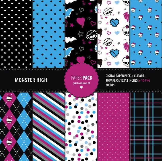 Digital Paper Pack And Clip Art Monster High Printable 12x12