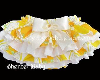 4 Ruffle Lemon & Cream Sassy Pants Ruffle Diaper Cover Bloomer