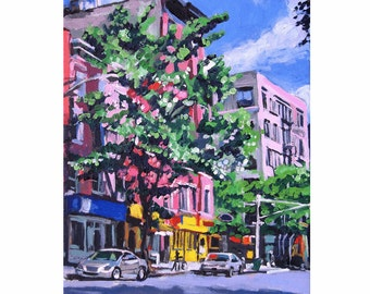 New York City Painting NYC Art Wall Decor Spring In New York Fine Art Print 8x10  blue violet pink Urban Landscape Painting by Gwen Meyerson