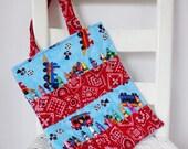 Railroad Crayon Bag Coloring Tote Children Red Bandana Boy Birthday Gift Crayon Roll Train Lover Toddler Gift