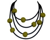 olive green long necklace, fall fashion avant garde jewelry