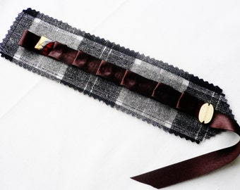 Bookmark...Black-Silver-Grey...Hand Made with Fabric