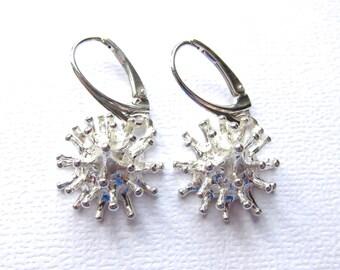 Silver Earrings, Matte White Silver on Leverback secure closing, Sterling Silver Earrings, Modern Earrings, Dangle Earrings
