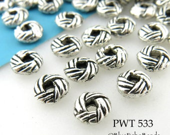 6mm Small Pewter Spacer Beads Interwoven Saucer Interwoven Bead (PWT 533) 30 pcs BlueEchoBeads