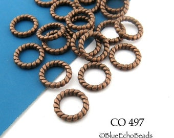 9mm Antiqued Copper Twisted Ring Beads Connector Link Copper Plated  (CO 497) 20 pcs BlueEchoBeads