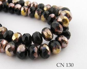 9mm Deep Purple with Gold Tone Highlights Czech Glass Faceted Rondelle Beads  (CN 130) 12pcs BlueEchoBeads