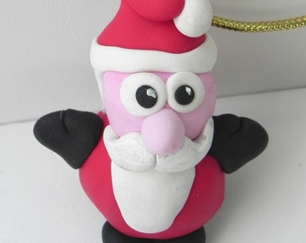 Santa Claus ornament, Santa decoration, Santa tree decoration, mini Santa decor, Holiday decoration, hand crafted, miniature clay, O232