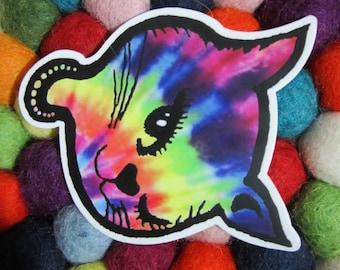 Tie Dye Winking Kitty Cat Head Sticker