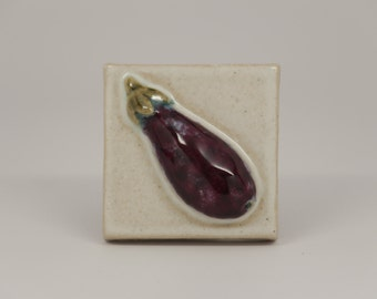 Handmade 3x3 Ceramic Eggplant Tile