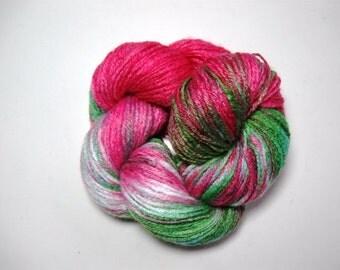 Hand Painted Yarn, DK, No.3 light, 193 yards, 175m, white,  green, and fuchsia , non wool yarn