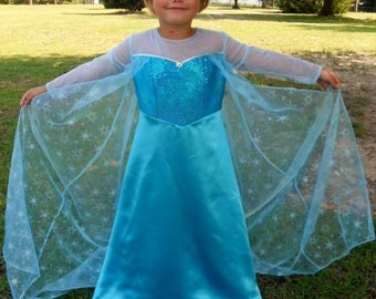Frozen Elsa inspired costume dress / Sizes 3 thru 8 /  Dress Up / Pageant/ Birthday/ Halloween / Play / Trunk