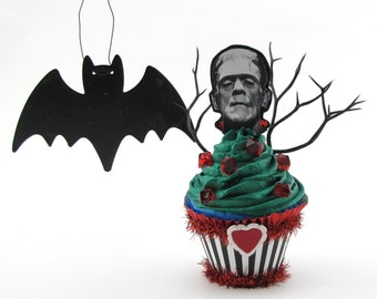 "Fake Cupcake Limited Edition ""Frankenstein Collection"" Standard Size Cupcake Fab Halloween Decor 12 Legs Original Design and Concept"