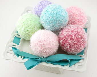 Snowball Ornaments Set of 6 Your Choice of Colors Can be used as Bowl Fillers, Ornaments, Candy Land Decor, Photo Shoots 12 Legs 2011 Design