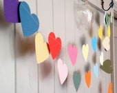 Paper Hearts  Garland - Choose Your Length - Party Decoration - Baby Shower -  Childs Room - Paper Garland - Birthday Decoration