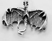 Skeleton bat with wings out, pendant, 1 bail, Australian Pewter