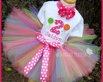 Lollipop with Number, Party Outfit,Tutu Set, Candyland Party , Theme Parties in Sizes 1yr thru 5yrs