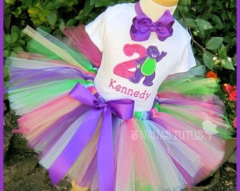 Birthday Barney, Party Outfit,Tutu Set, Birthday Number,Theme Party, Personalized in Sizes 1yr thru 5yrs