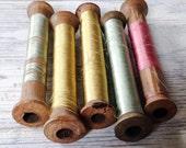 SALE Vintage Wood Silk Spools France Set of 5 Instant Collection