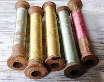 SALE Vintage Wood Silk Spools France Set of 5 Instant Collection